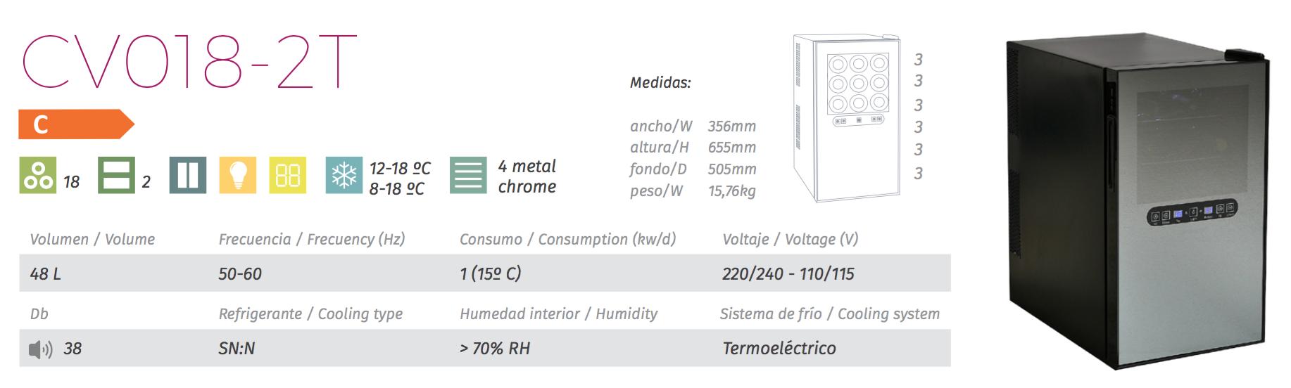 vinoteca cavanova CV018-2T tabla caracteristicas