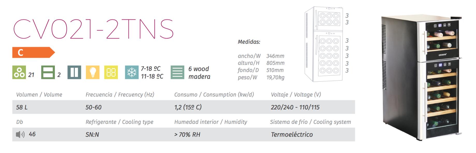 vinoteca cavanova CV021-2TNS tabla caracteristicas