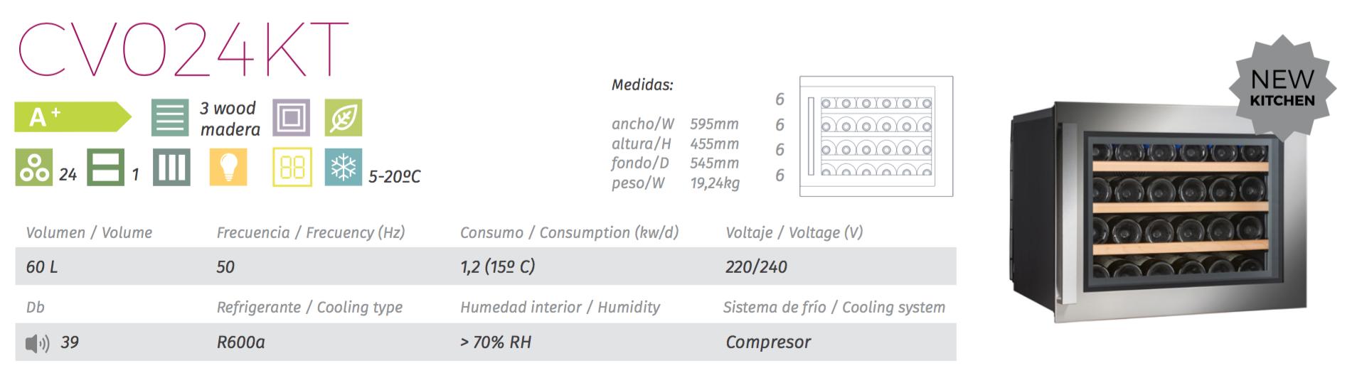 vinoteca cavanova CV024KT tabla caracteristicas