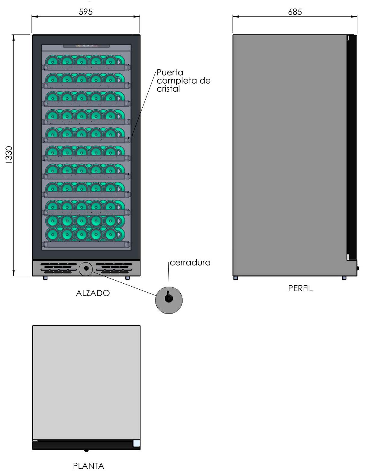 detalle de la Vinoteca 110 botellas Cavanova TW03-110