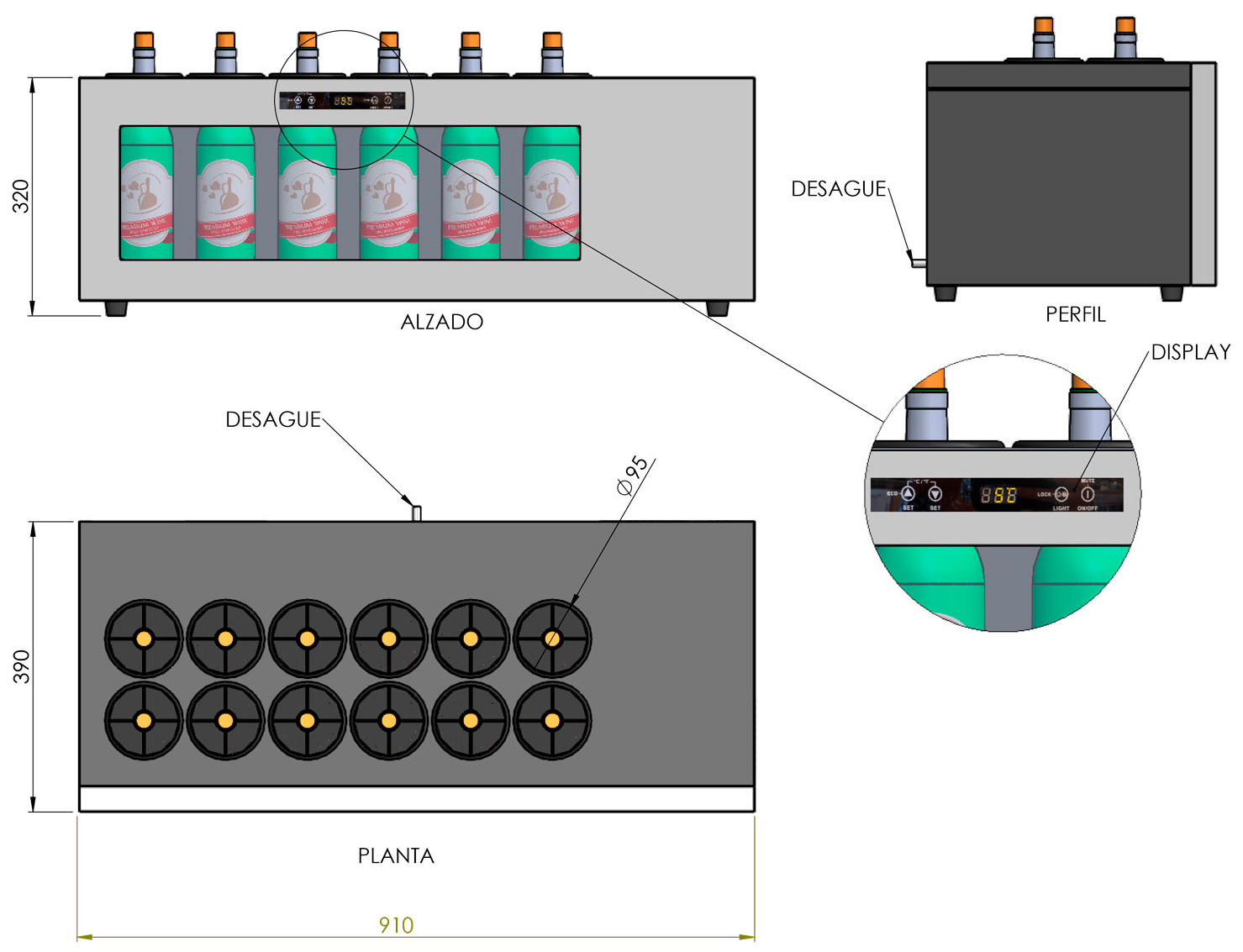 detalle del Expositor de Barra 12 botellas Cavanova TW02-12