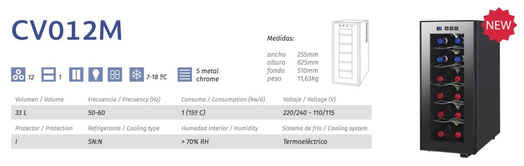 vinoteca cavanova CV012M tabla caracteristicas