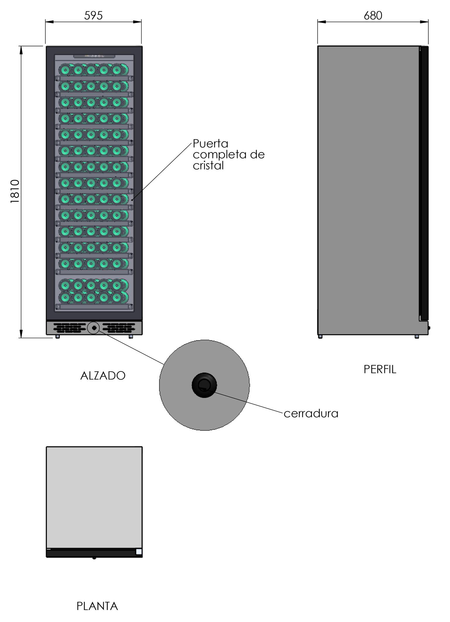 detalle de la Vinoteca 150 botellas Cavanova TW04-150